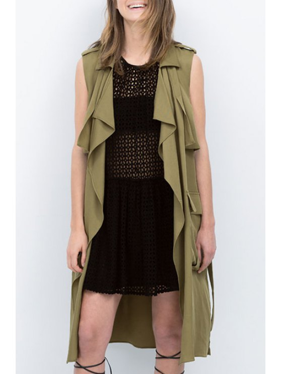 fashion Solid Color Turn-Down Collar Sleeveless Trench - ARMY GREEN S