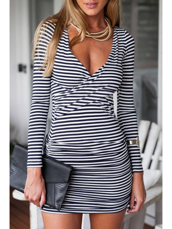 chic Criss-Cross Ruched Stripes Bodycon Dress - WHITE S