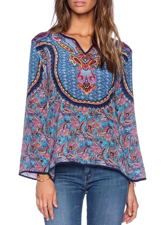 online Flower Print V Neck Long Sleeve Blouse - PURPLISH BLUE S