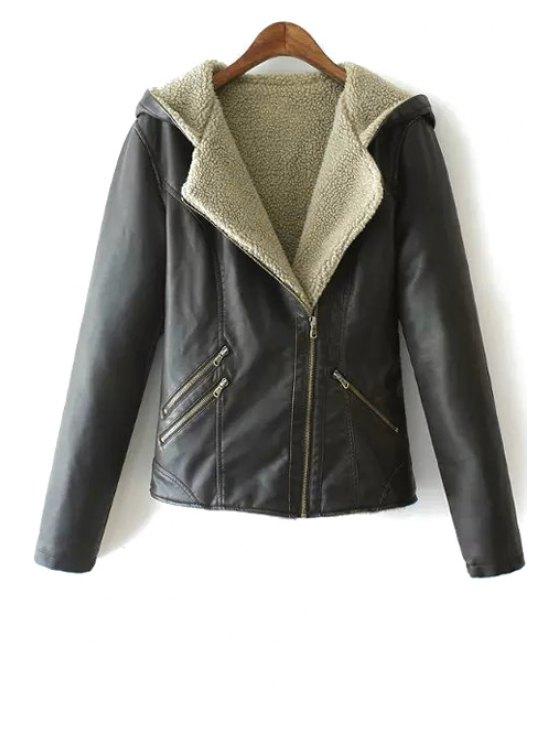 lady Fleece Lining Zipper Design Faux Leather Coat - BLACK L