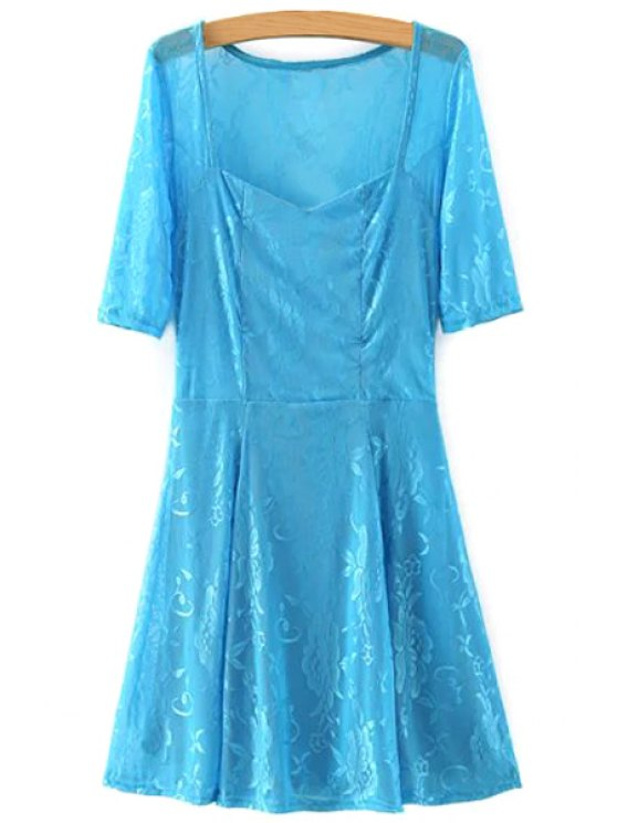 outfit Lace V Neck Half Sleeve A Line Dress - AZURE S