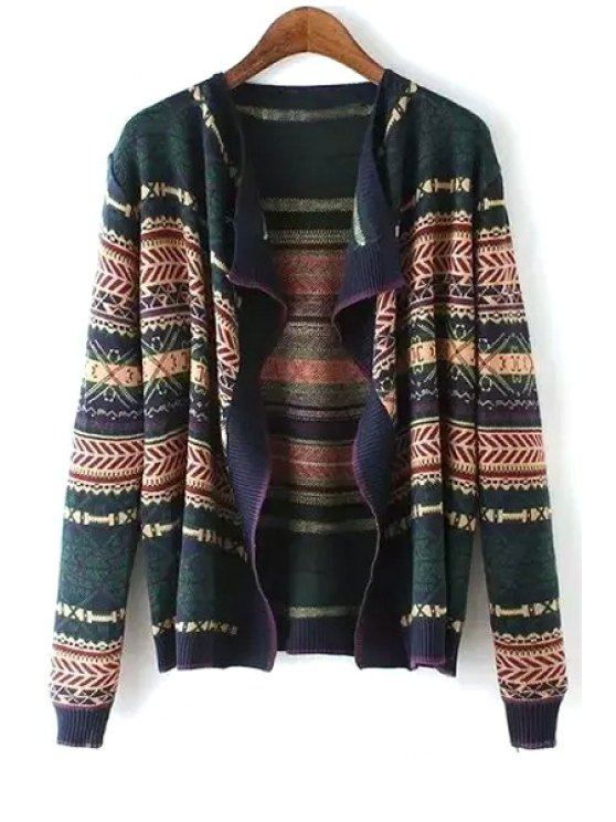 women's Geometric Pattern Long Sleeves Cardigan - BLACKISH GREEN ONE SIZE(FIT SIZE XS TO M)