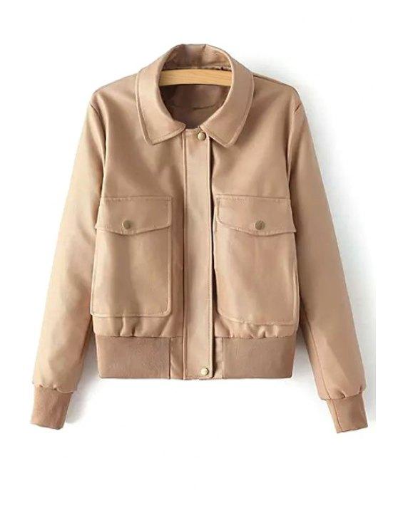 best Solid Color Big Pocket Faux Leather Jacket - KHAKI S