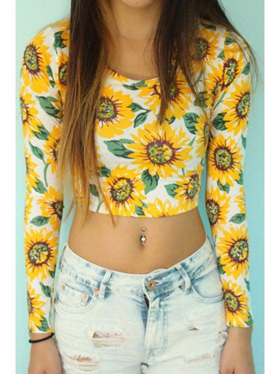 lady Sunflower Print Long Sleeve Crop Top - YELLOW S