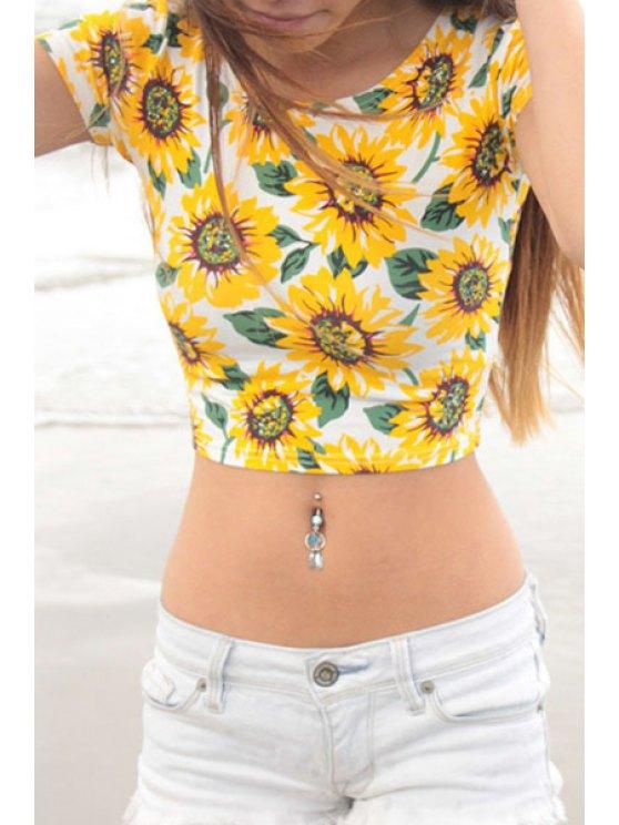 hot Sunflower Print Short Sleeve Crop Top - YELLOW S
