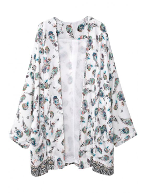 affordable Long Sleeve Colorful Floral Print Kimono - WHITE S