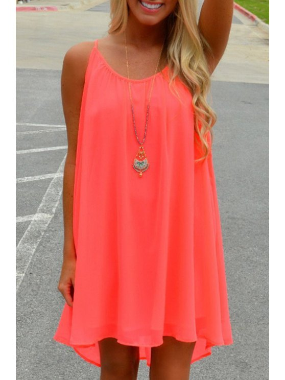 shops Hollow Out Back Spaghetti Strap Dress - WATERMELON RED S