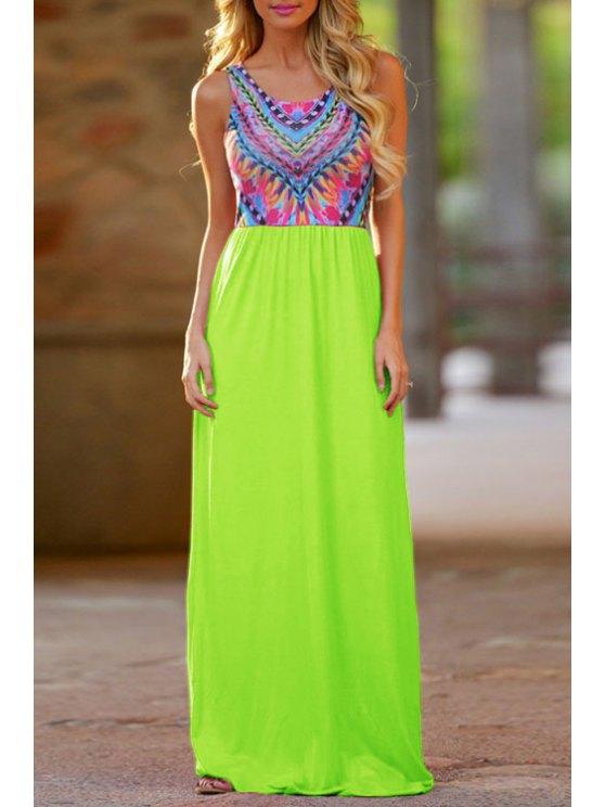 hot Color Block Spliced Chevron Stripe Maxi Dress - GREEN L