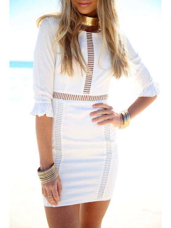 best White Half Sleeve Bodycon Dress - WHITE S