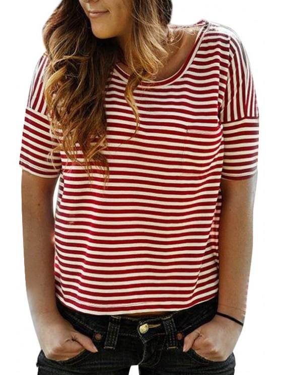 new Striped Heart Shape Cut Back Loose-Fitting T-Shirt - RED S