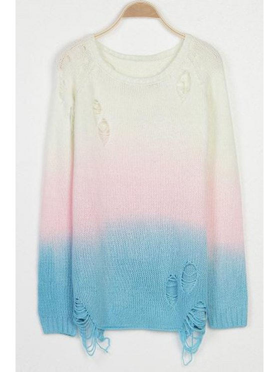 lady Color Block Hole Long Sleeve Sweater - WHITE ONE SIZE(FIT SIZE XS TO M)