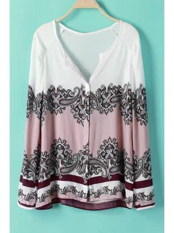 outfit Paisley Print Color Block Long Sleeve Shirt - COLORMIX S