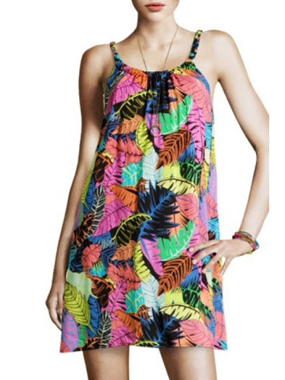 new Spaghtti Strap Full Leaf Print A-Line Sundress - AS THE PICTURE ONE SIZE(FIT SIZE XS TO M)