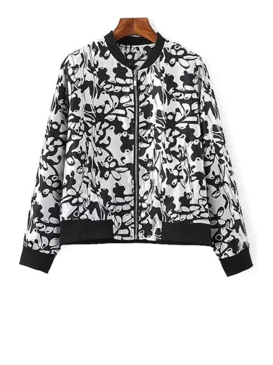 outfit Black Floral Print Long Sleeve Jacket - WHITE AND BLACK S