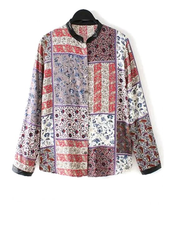 women Floral Paisley Print Long Sleeve Shirt - COLORMIX S