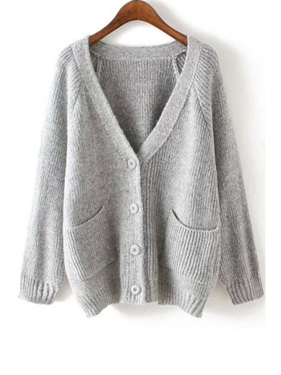 shops Double Pockets Plunging Neck Cardigan - GRAY ONE SIZE(FIT SIZE XS TO M)