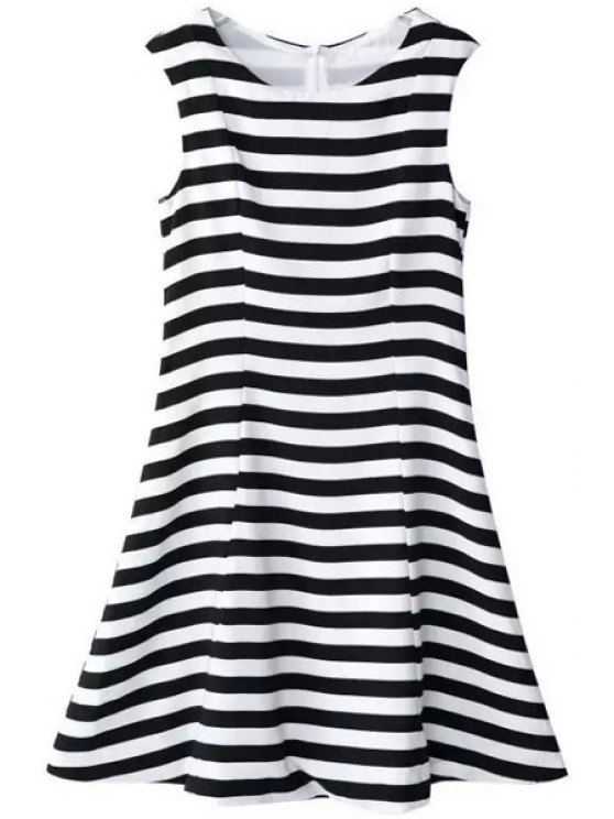 affordable Stripes Scoop Neck Flare Sundress - WHITE AND BLACK S