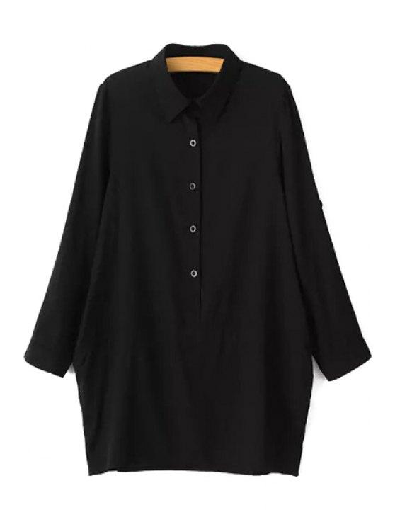 buy Solid Color Button Design Loose-Fitting Blouse - BLACK L