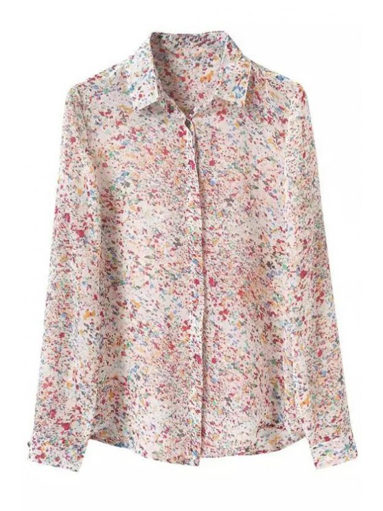 outfits Colored Print Shirt Neck Long Sleeve Shirt - COLORFUL S