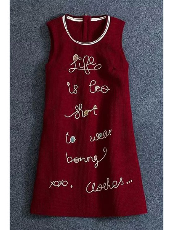 affordable Letter Embroidery Sleeveless Dress - RED XS