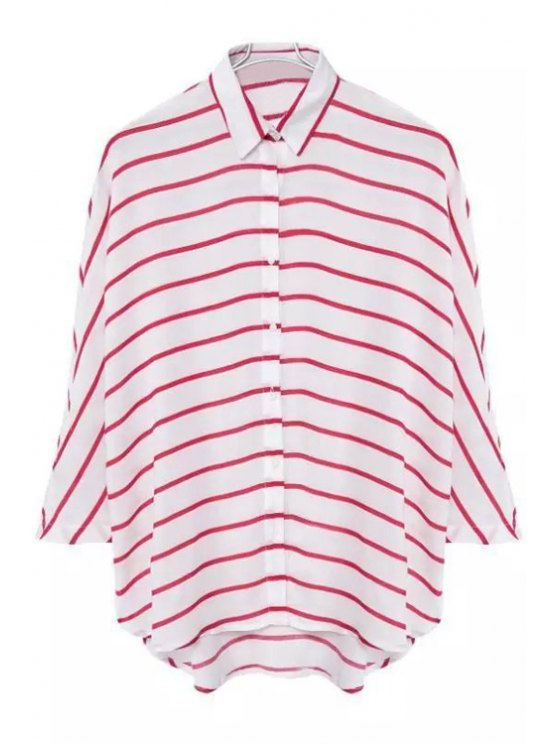 online Striped Turn Down Collar 3/4 Sleeve Shirt - RED L