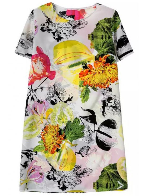 best Colored Floral Short Sleeve Dress - YELLOW S
