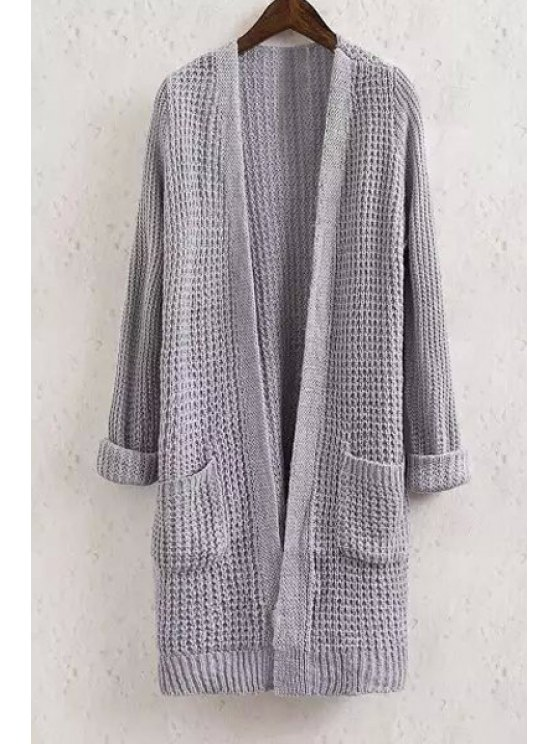 latest Collarless Solid Color Pocket Long Sleeve Cardigan - GRAY S