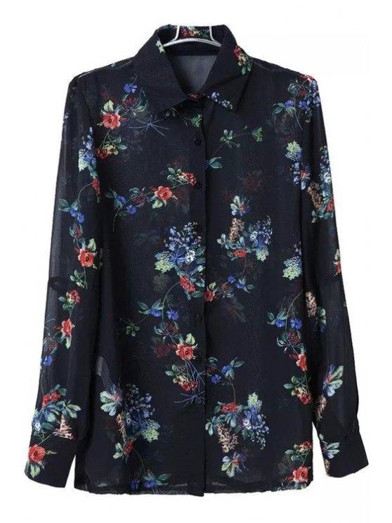 hot Floral Turn Down Collar Long Sleeve Shirt - BLACK S