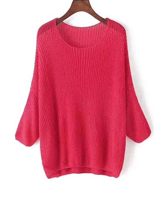 trendy Solid Color Asymmetrical Long Sleeve Sweater - RED ONE SIZE(FIT SIZE XS TO M)
