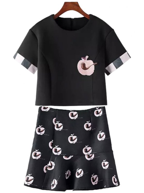hot Short Sleeve Crop Top + Apple and Pipe Print Skirt Twinset - BLACK S