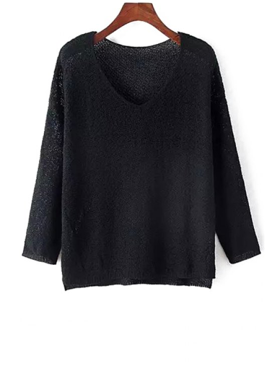 lady V-Neck High Low Slit Long Sleeve Sweater - BLACK ONE SIZE(FIT SIZE XS TO M)