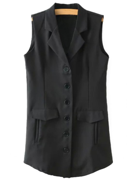 fancy Lapel Black Single-Breasted Waistcoat - COLORMIX S