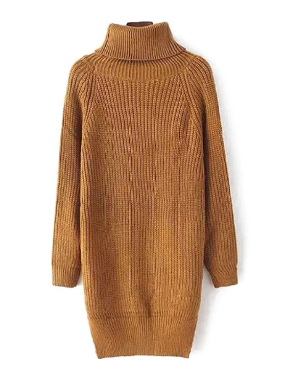 trendy Solid Color Side Slit Turtle Neck Sweater - KHAKI ONE SIZE(FIT SIZE XS TO M)