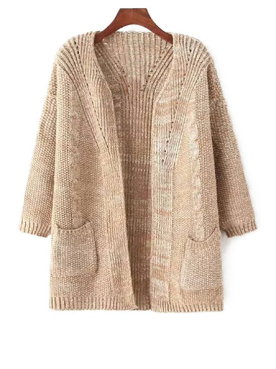 chic Long Sleeve Hemp Flowers Cardigan - APRICOT ONE SIZE(FIT SIZE XS TO M)