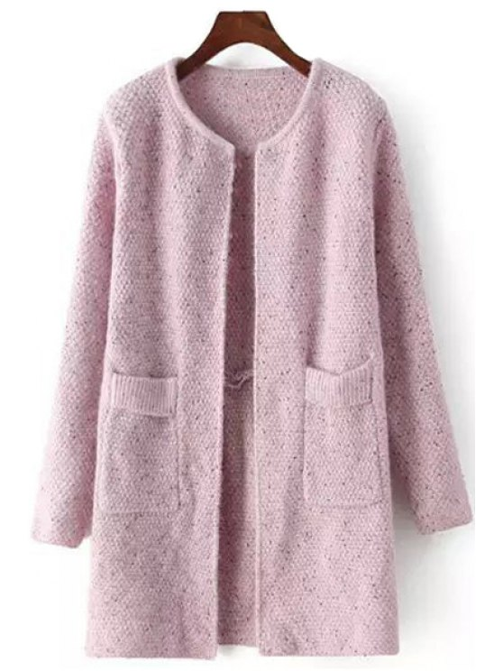 sale Solid Color Scoop Neck Long Sleeve Cardigan - PINK ONE SIZE(FIT SIZE XS TO M)