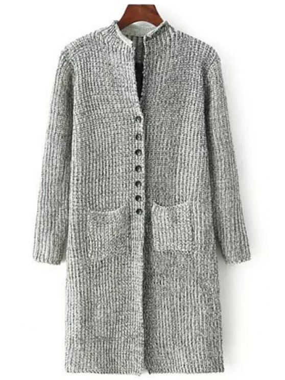 ladies Gray Stand Neck Long Sleeve Cardigan - LIGHT GRAY ONE SIZE(FIT SIZE XS TO M)