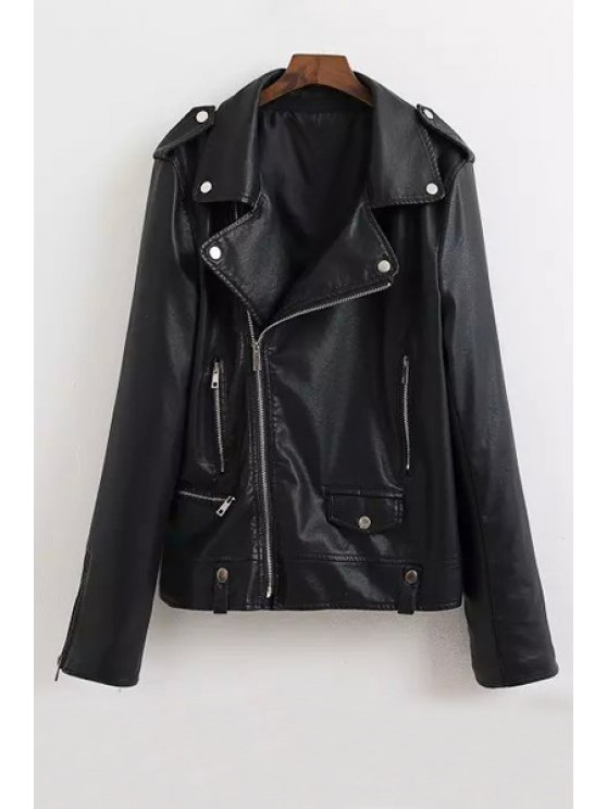 sale Turn-Down Collar Faux Leather Zipper Fly Coat - AS THE PICTURE S