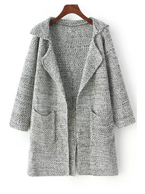 new Gray Lapel Neck Long Sleeve Cardigan - LIGHT GRAY ONE SIZE(FIT SIZE XS TO M)