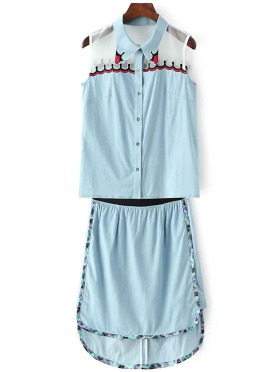 chic Embroidery Sleeveless Shirt and Denim Skirt Suit - BLUE S