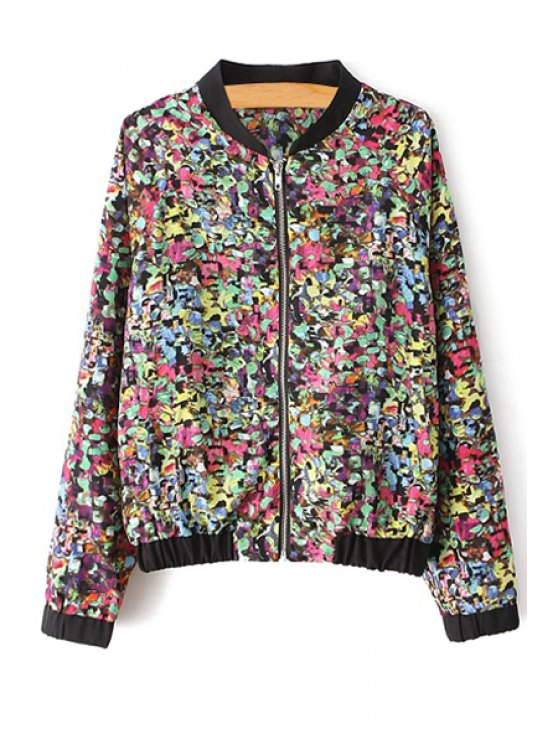 womens Colorful Printed Long Sleeve Coat - COLORMIX S