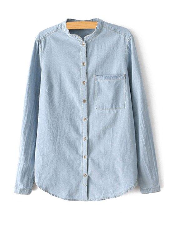 women's Round Neck Bleach Wash Pocket Shirt - LIGHT BLUE S
