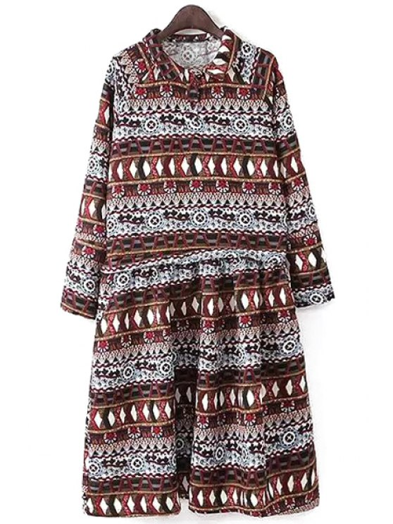 chic Long Sleeve Ruffled A-Line Striped Midi Dress - COLORMIX M