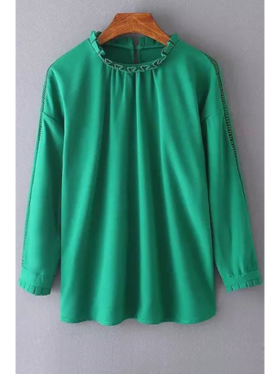women's Hollow Round Neck Long Sleeve Blouse - GREEN S