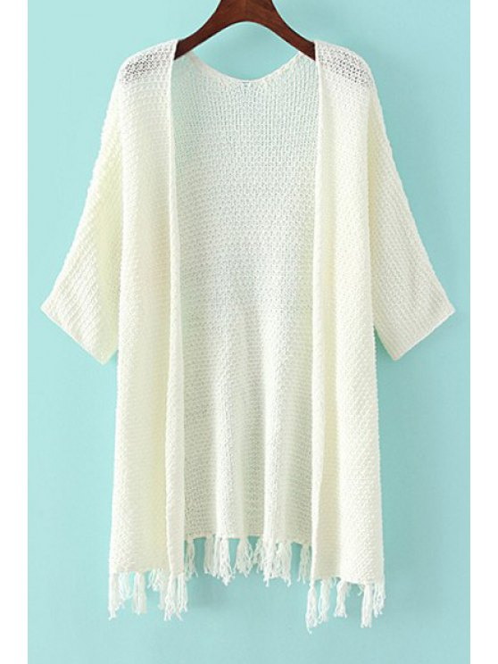 hot Fringe Splicing Solid Color 3/4 Sleeveless Cardigan - WHITE ONE SIZE(FIT SIZE XS TO M)