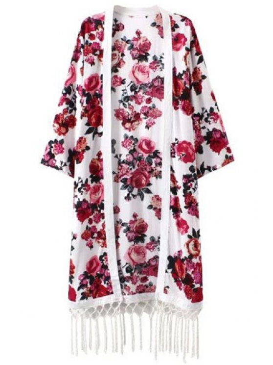 hot Red Floral Print Long Sleeve Kimono - RED WITH WHITE S