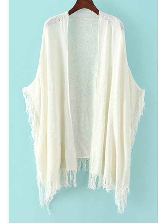 shops Collarless Tassel Splicing Solid Color Cardigan - WHITE ONE SIZE(FIT SIZE XS TO M)