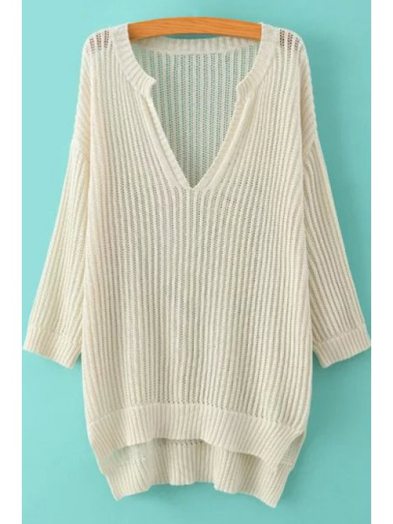 women's Soild Color High-Low Hem Hollow Sweater - OFF-WHITE M
