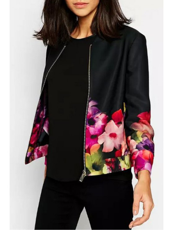 new Flower Print Stand Neck Long Sleeve Jacket - RED WITH BLACK S