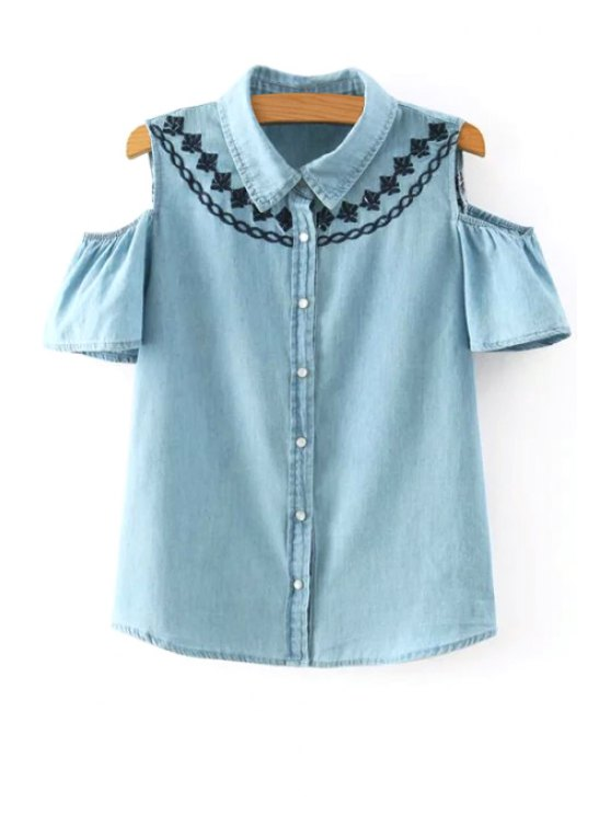 latest Single-Breasted Cut Out Embroidered Denim Blouse - BLUE S