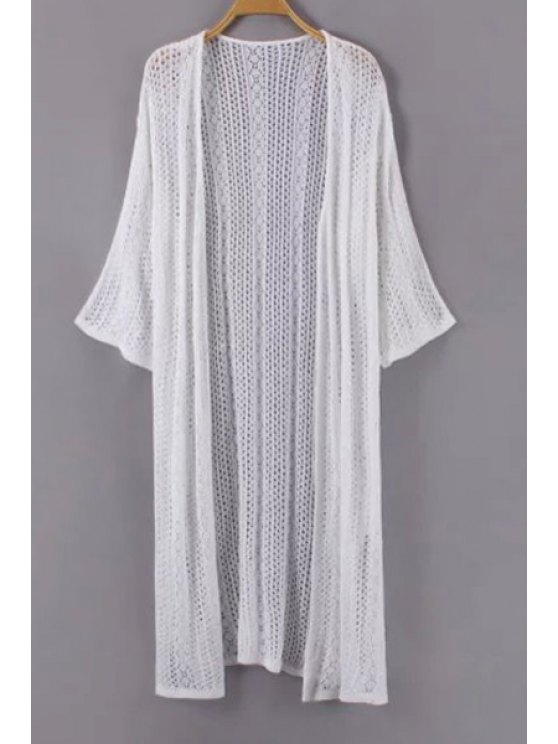 best Solid Color See-Through Long Sleeve Cardigan - WHITE ONE SIZE(FIT SIZE XS TO M)